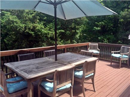 Dennis Cape Cod vacation rental - Large deck with teak furniture.