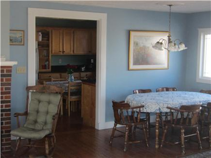 Falmouth Cape Cod vacation rental - Dining area & kitchen beyond from the living room