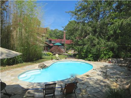 Orleans Cape Cod vacation rental - Heated saltwater pool looking toward courtyard and house.