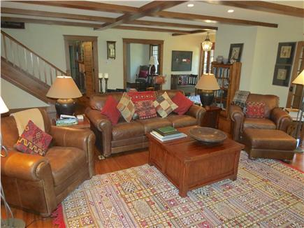 Orleans Cape Cod vacation rental - Expansive living room with comfortable leather furniture