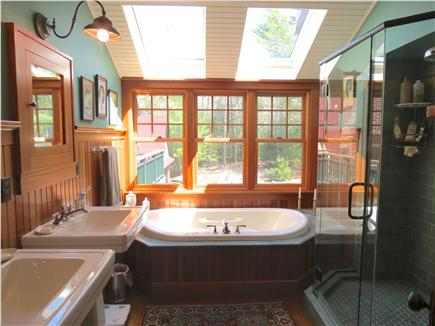Orleans Cape Cod vacation rental - Master bath with tile and glass shower, jetted tub and dual sinks