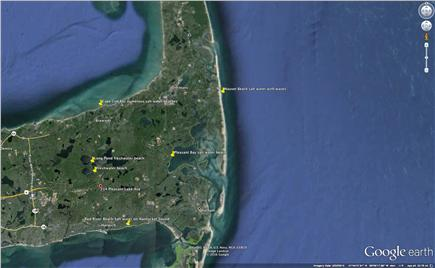 Harwich Cape Cod vacation rental - House pinned in red, beaches pinned in yellow