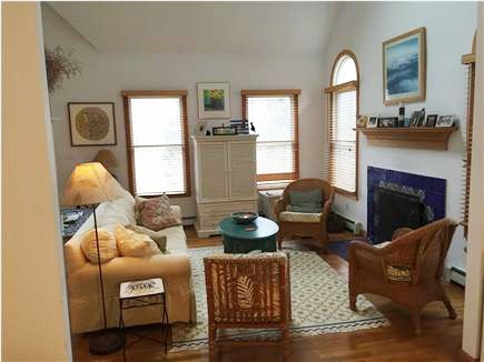 Wellfleet Cape Cod vacation rental - Living room and fireplace