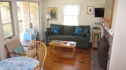 South Chatham Cape Cod vacation rental - Another view of the living room with fireplace