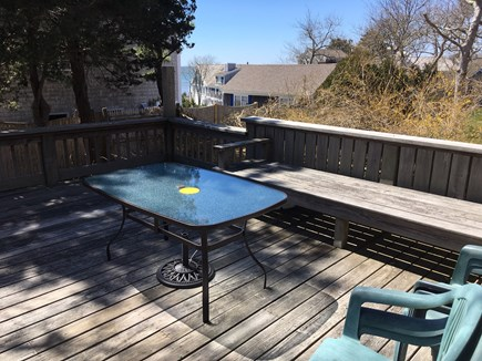 South Chatham Cape Cod vacation rental - The 14 x 14 deck has a small ocean view and a full gas grill.