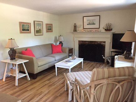 Orleans Cape Cod vacation rental - Light Bright Living Room with Flat Screen Television and Fireplac