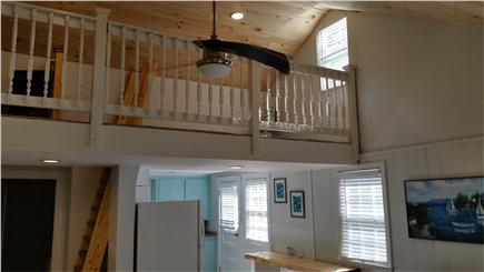 Falmouth Cape Cod vacation rental - Looking up at loft from living room