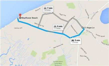 Dennis Village Cape Cod vacation rental - Directions to Mayflower Beach
