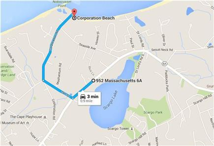 Dennis Village Cape Cod vacation rental - Directions to Corporation Beach
