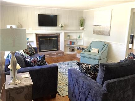 South Yarmouth Cape Cod vacation rental - Large living room with flat screen TV and all new furniture.