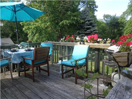 Orleans-.3 mile from Harbor Cape Cod vacation rental - DeckEating area overlooking pond & rtear yard gardens