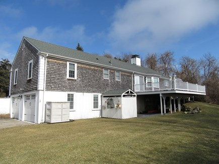 Dennis Cape Cod vacation rental - Rear of home shows outside shower, large deck & great yard