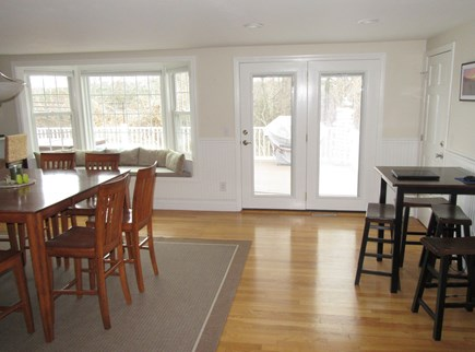 Dennis Cape Cod vacation rental - The high-top style dining is open to kitchen & overlooks the deck