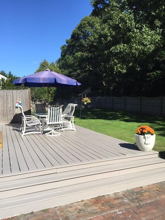 Yarmouthport Cape Cod vacation rental - Large back deck -  fenced in private yard