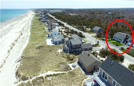 East Sandwich Cape Cod vacation rental - Aerial location of house and beach just across the street.