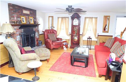 East Sandwich Cape Cod vacation rental - Living Room with fireplace opens to the Kitchen.