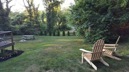 Manomet Manomet vacation rental - Back Yard view..picnic table, gas grill enclosed outdoor shower