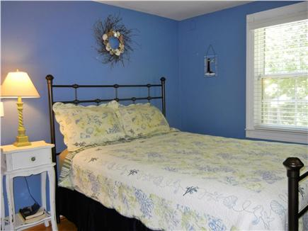 Yarmouth Port Cape Cod vacation rental - Blue Room with Queen bed, window AC, and ceiling fan.