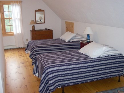 Chatham Cape Cod vacation rental - Loft bedroom - Captain's Quarters. No privacy door, 3 twin beds.