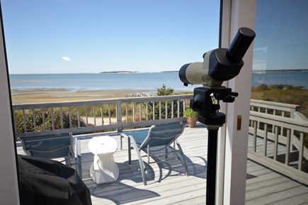 Wellfleet Cape Cod vacation rental - View from living area onto deck and water
