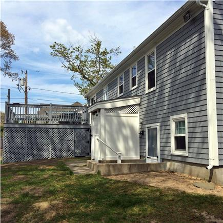 Dennis, Mayflower/Bayview Beach Cape Cod vacation rental - Deck w/patio set, gas grill, extra table & storage under deck