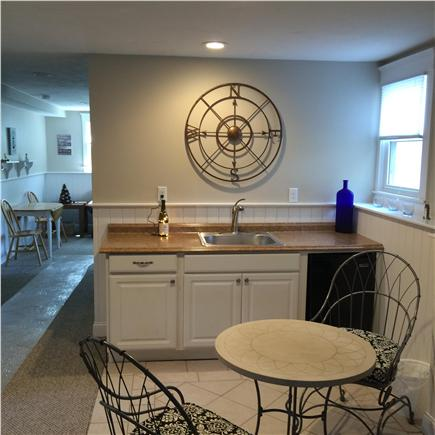 Dennis, Mayflower/Bayview Beach Cape Cod vacation rental - Lower Level service bar, pub set, fridge + mounted AC wall unit