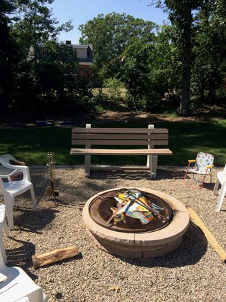 Dennis, Mayflower/Bayview Beach Cape Cod vacation rental - Fire pit w/FREE firewood, park benches, vinyl chairs, cup holders