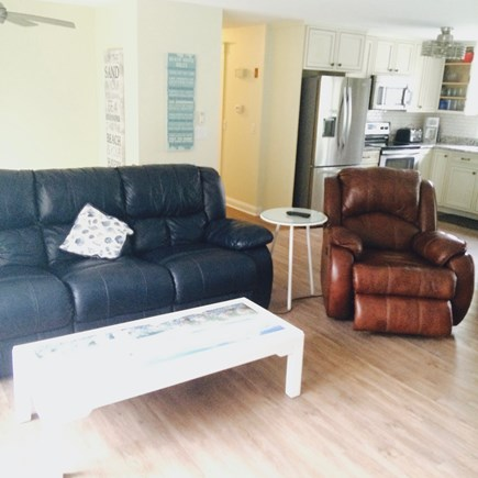 Dennis Cape Cod vacation rental - Leather couch & recliner, swivel TV, wifi, restaurant menus