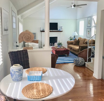 Harwich Port Cape Cod vacation rental - Open floor plan LR, kitchen/eat-in area/breakfast bar and DR.