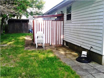 Hyannis Cape Cod vacation rental - Behind house, outdoor shower after the beach