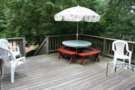 Harwich Cape Cod vacation rental - Back deck with gas grill and furniture—seating for 10 to 12
