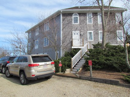 Provincetown Cape Cod vacation rental - Parking is where the Jeep is. Up steps and unit on that level.