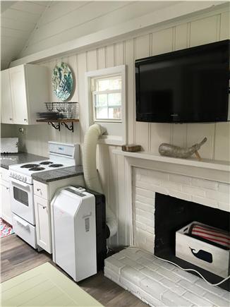 Dennisport Cape Cod vacation rental - Kitchen and living room with flat screen TV