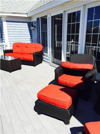 West Yarmouth Cape Cod vacation rental - Upstairs balcony/deck off living room - faces Lewis Bay