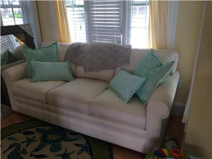 West Yarmouth Cape Cod vacation rental - Comfy couch in the 1st floor dining/kitchen area