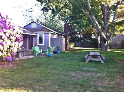 Chatham Harbor Fish Pier Cape Cod vacation rental - Barcliff Cottage yard and picnic table