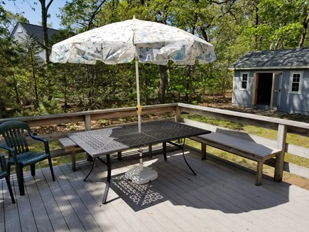 eastham Cape Cod vacation rental - Deck with Shed to back of yardvery accessible for beach items