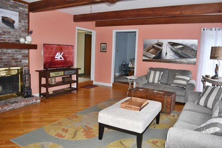 Chatham Cape Cod vacation rental - Living room with fireplace and smart LED TV