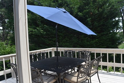 Chatham Cape Cod vacation rental - Picnic table with umbrella. Deck also has outdoor Bose speakers.