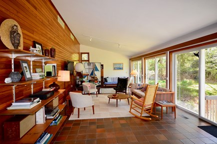 Orleans Cape Cod vacation rental - Large living room with flatscreen TV and sliders overlooking yard