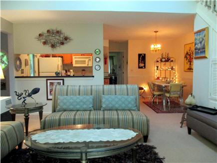 Brewster Cape Cod vacation rental - Living Room to Dining Alcove & Kitchen