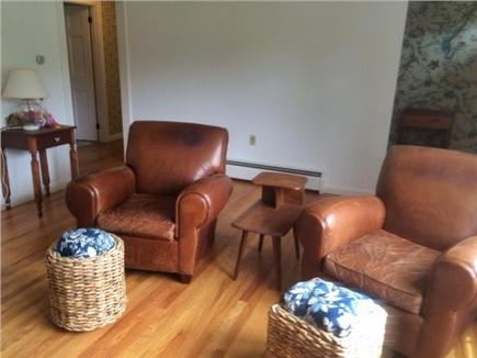 East Orleans Cape Cod vacation rental - Relax in Pottery Barn leather chairs allergy free hardwood floors