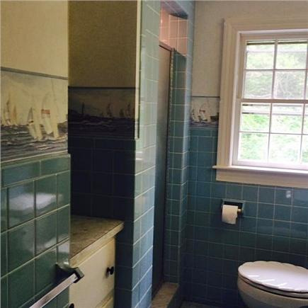 East Orleans Cape Cod vacation rental - Ocean blue bath with walk-in shower
