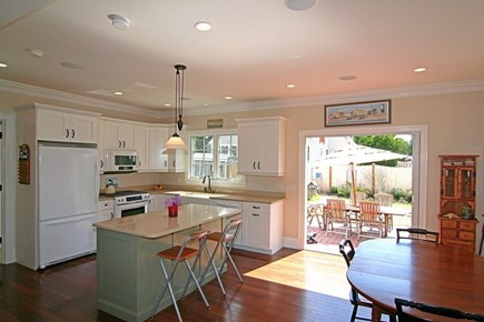 Barnstable Village Cape Cod vacation rental - Open Kitchen flows to the back yard.