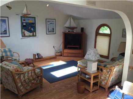 New Seabury, Rock Landing Cape Cod vacation rental - Comfy living room with 2 armchairs, loveseat, flat screen TV/DVR