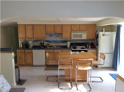 New Seabury, Rock Landing Cape Cod vacation rental - Contemporary kitchen with dining bar (on left) and center island