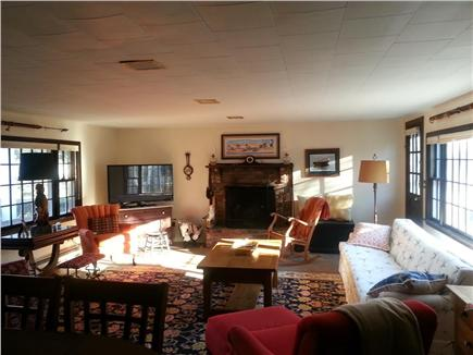 Barnstable Village Cape Cod vacation rental - Large living room has high top table for dining at one end