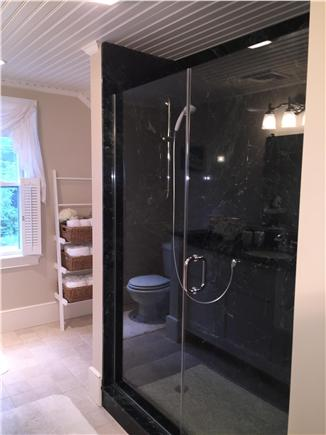 Yarmouthport Cape Cod vacation rental - 2nd floor bathroom with marble glass enclosed shower