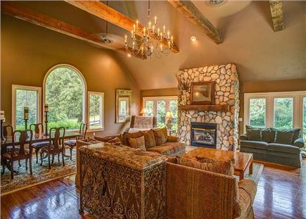 Barnstable Cape Cod vacation rental - Opulent cathedral ceilings in the living room.