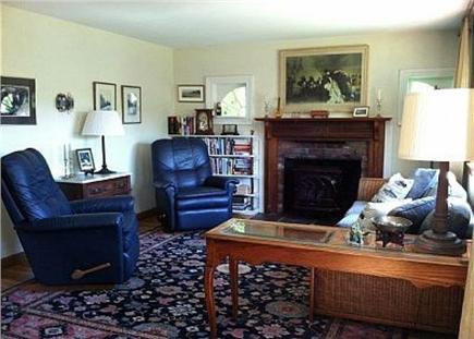 Chatham Cape Cod vacation rental - The cozy living room offers relaxation next to the gas fireplace.